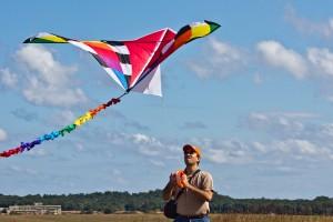 Man Flying Kite at Fresh Kills Park