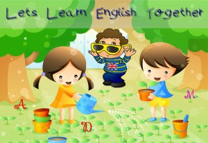 children in garden learning english